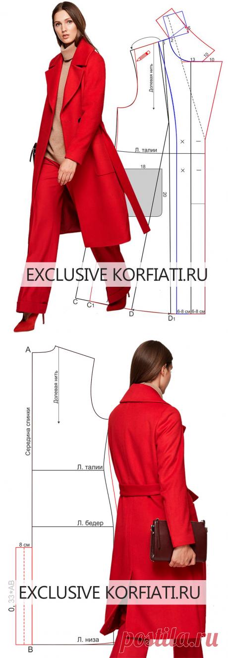 Выкройка пальто с большим воротником от Анастасии Корфиати