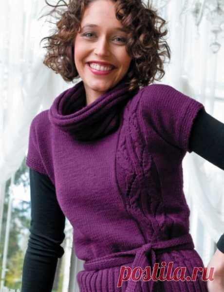 Пуловер спицами с коротким рукавом