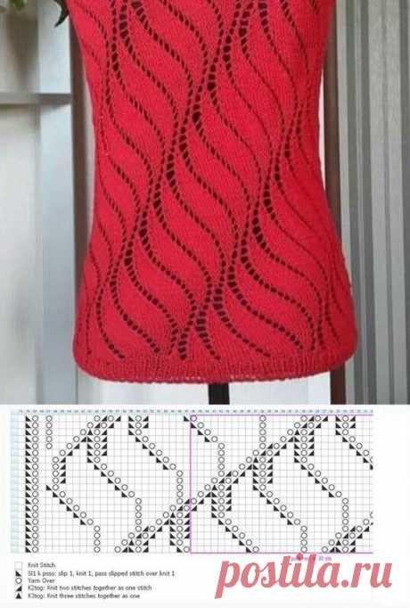 Оригинальный волнистый ажурный узор спицами. Схема узора. / knittingideas.ru