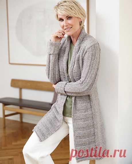 Кардиган с широкими планками для женщин спицами – 6 моделей со схемами и описанием — Пошивчик одежды