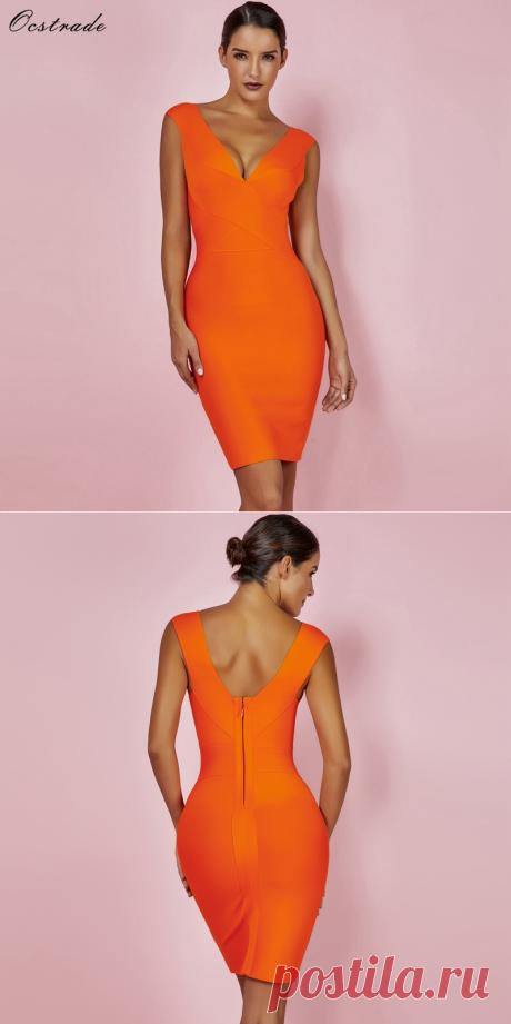 Ocstrade сексуальное платье Клубная одежда летнее праздничное платье 2018 Новое поступление оранжевый Глубокий v образный вырез женское Бандажное платье без рукавов XL купить на AliExpress