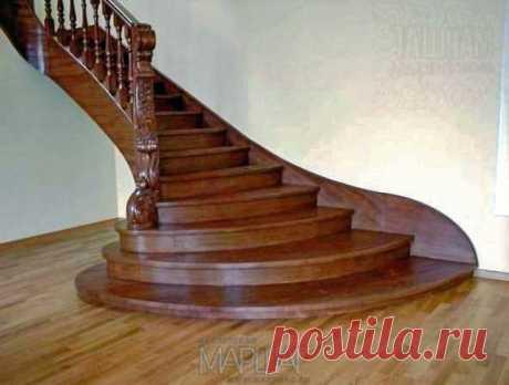 Лестницы, ограждения, перила из стекла, дерева, металла Маршаг – Лестница из бука