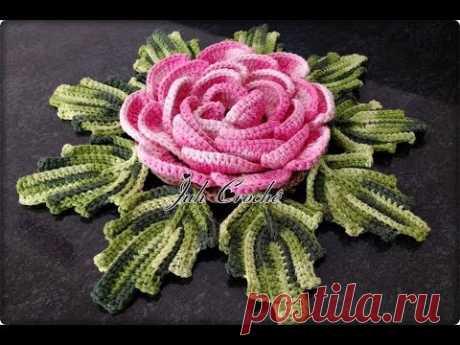 Mega Rosa com Confecção e Aplicação de Folhas  #JuhCrochê