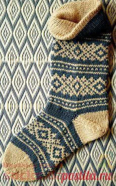 Вязаные носки со скандинавским рисунком | ВЯЗАНЫЕ НОСКИ