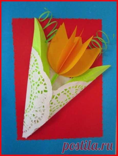 «Весенний букет» в подарок маме к 8 марта. МК