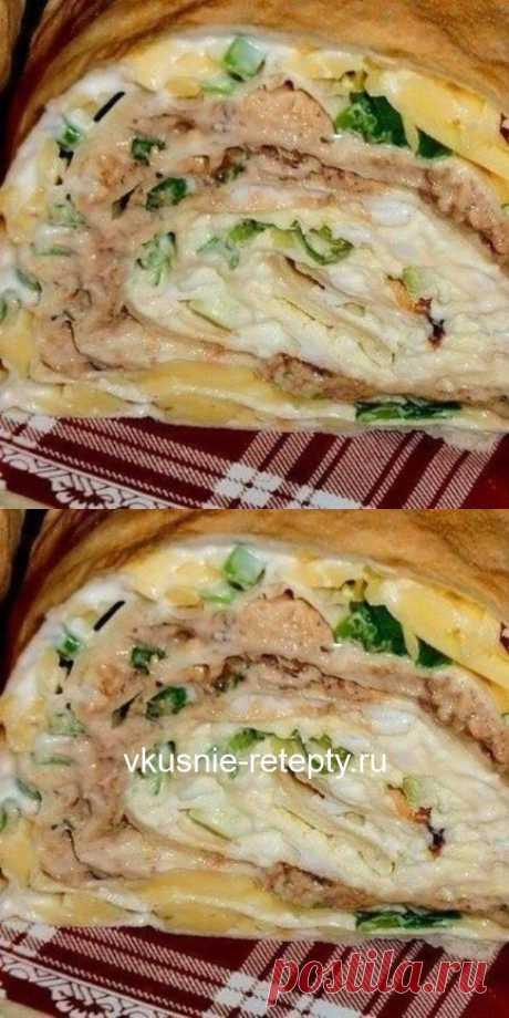 """Рулет """"Мимоза""""-сочная, сытная закуска с ярким насыщенным вкусом."""