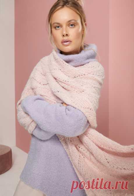 Розовый ажурный палантин - схема вязания спицами. Вяжем Палантины на Verena.ru