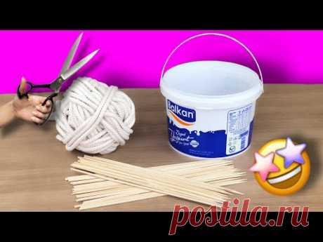 Потрясающая идея переработки с плетеной веревкой и пластиковым ведром