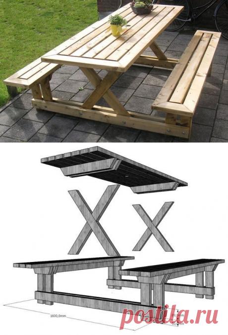 Простой деревянный стол со скамьями для дачи — Сделай сам