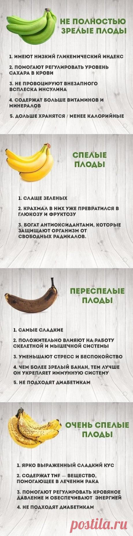 В чем польза бананов разного уровня спелости — Полезные советы