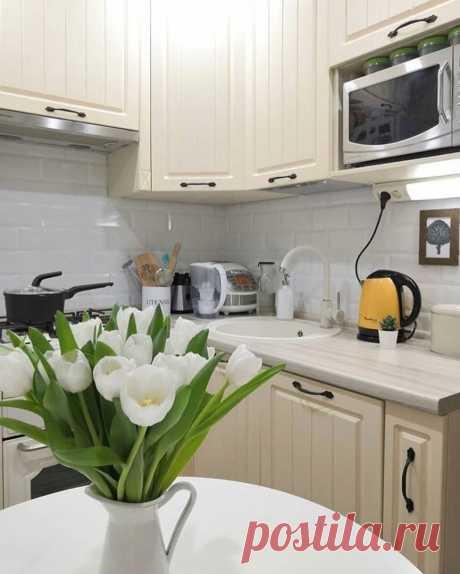 Кухня-малышка 4,5 кв. с холодильником, газовой плитой и духовкой. Очень уютная обеденная зона   СЕКРЕТЫ КУХНИ   Яндекс Дзен