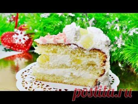 """Бисквитный торт с ананасами """"Пина Колада"""""""
