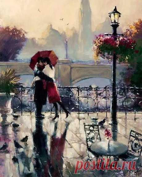 Шёл дождь, ты обещал прийти,  Но видно дождь встал на твоём пути..  А знаешь, я люблю дожди..  В дождь могут только верные прийти...
