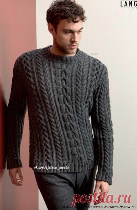 Пуловер мужской спицами.