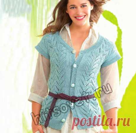 Вязание спицами жилета - Хитсовет Вязание спицами жилета. Модная модель для женщин ажурного жилета из хлопка на лето со схемой и бесплатным описанием вязания.