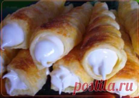 Трубочки с белковым кремом на сметане | Рецепты вкусно