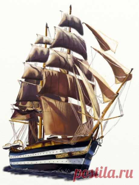 Как нарисовать корабль | Рисунок парусника карандашом