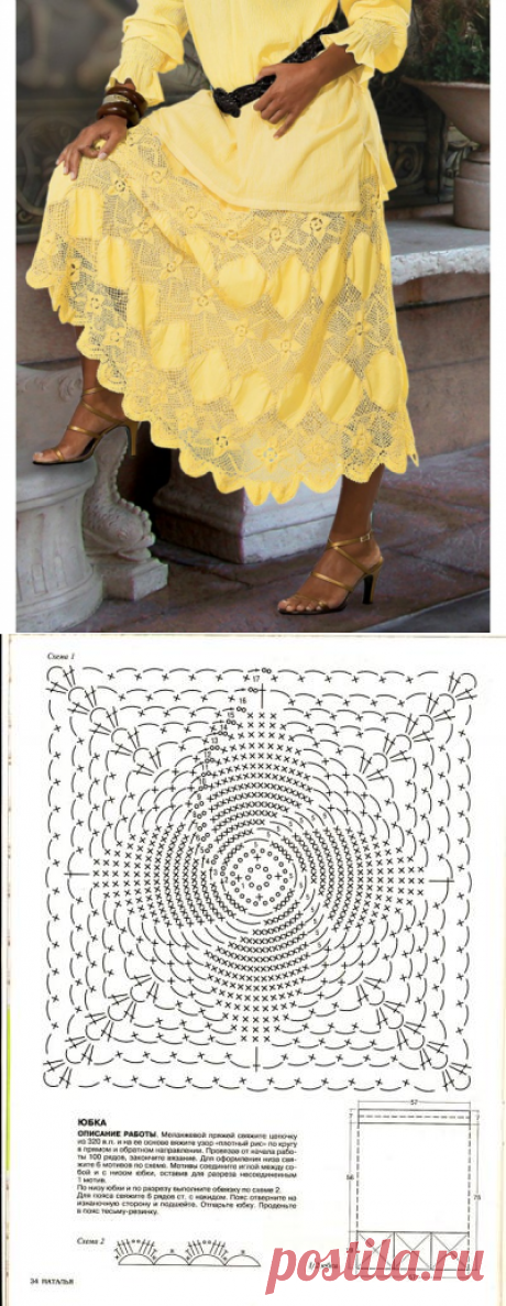ВЯЗАНИЕ+ТКАНЬ... La falda brillante por el verano... HERMOSAMENTE... Es adornado... El Esquema