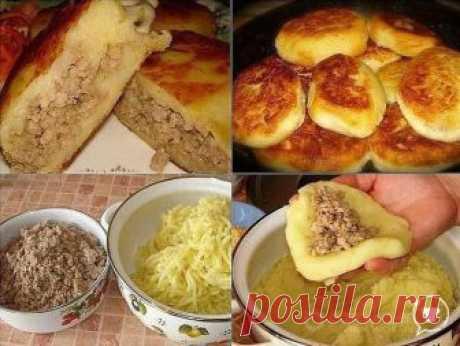 Картофельные зразы   Ингредиенты:  -500 гр - нежирной свинины;  -1, 5 кг - картофеля;  -1- луковица;  -50 гр.сливочного масла  -1/2 стакана муки  -100 гр.растительного масла для обжарки зраз  -соль, перец - по вкусу   Приготовление:  Свиную мякоть пропускают через мясорубку, добавляя соль и перец по вкусу.  Лук измельчают, и обжаривают с фаршем.  Из картофеля готовят крутое пюре, (остудить) добавляя в него соль, сливочное масло и муку, соль , специи по вкусу..  Муку необхо...