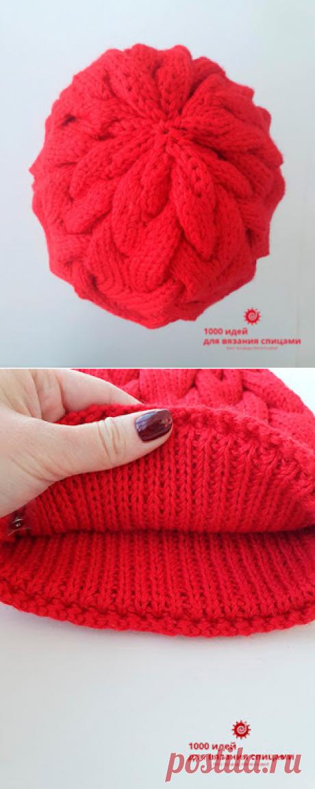 +Женская шапка с объёмными косами на спицах +как связать шапку с косами на спицах схемы и описание +как связать подкладку для шапки спицами +шапка на круговых спицах без шва на 56 размер +красная шапка спицами женская