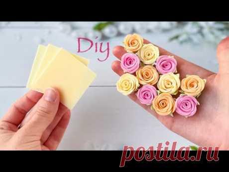 Розочки из фоамирана Простой способ Без шаблона За 5 минут DIY Rose Flower Foam Paper / Flores foamy