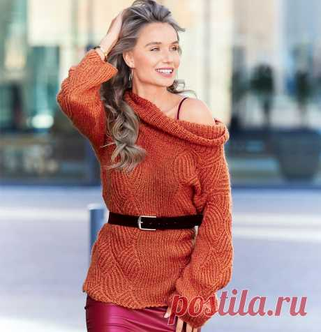 Терракотовый свитер - схема вязания спицами. Вяжем Свитеры на Verena.ru