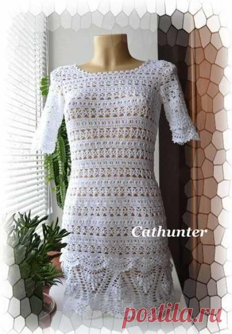 Платье туника, вязанное крючком