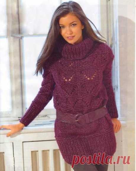 Удлинённый вязаный пуловер с воротником и ажурным узором. | Золотые спицы