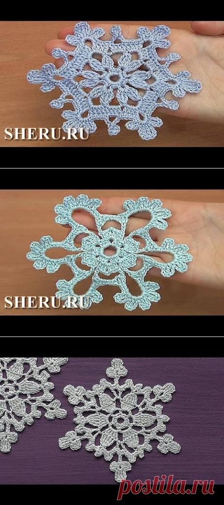 Урок 32 Вязание снежинки крючком - YouTube