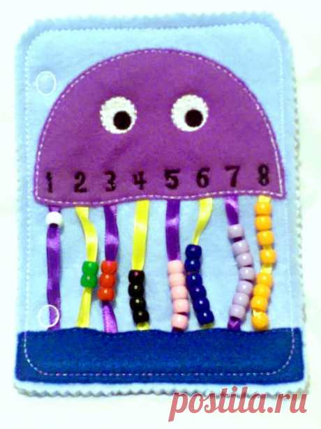 Quiet book Jellyfish bead counting busy от itsthesmallthings