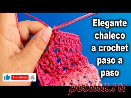 """""""Como tejer ELEGANTE CHALECO ABIERTO a CROCHET Parte #3""""   """"CHALECO para Dama""""   Todo en Crochet"""