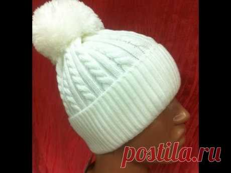 ♥♥♥Шапка жгутами спицами+шапка +с бубоном♥♥♥.Часть 1.Мастер класс +вязание спицами.Женская шапка