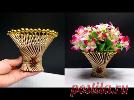 Ide Kreatif Vas bunga dari Tusuk Sate / Bamboo stick flower vase