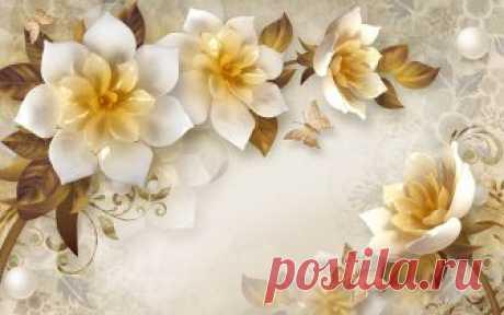 Фотообои 3д цветы 8454378026 Купить на стену в Украине
