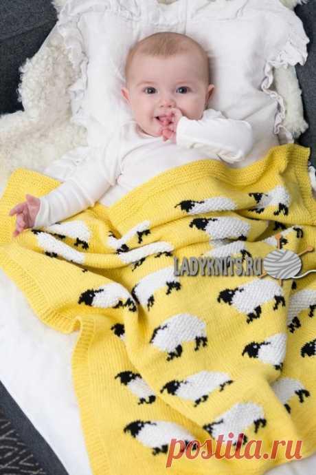 Вязаное спицами одеяло с овечками малышу, описание