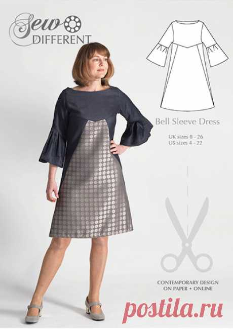 Bell Sleeve Dress - multisize sewing pattern - Sew Different