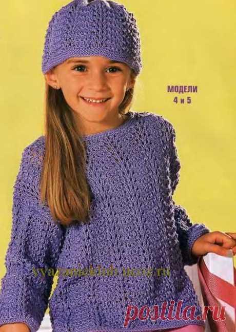 Ажурный пуловер и шапочка - Для девочек - Каталог файлов - Вязание для детей