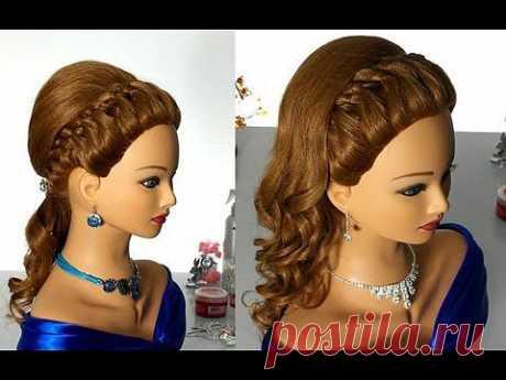▶ Вечерняя прическа с плетением (коса из 4-х прядей). Prom hairstyle with 4 strand braid - YouTube