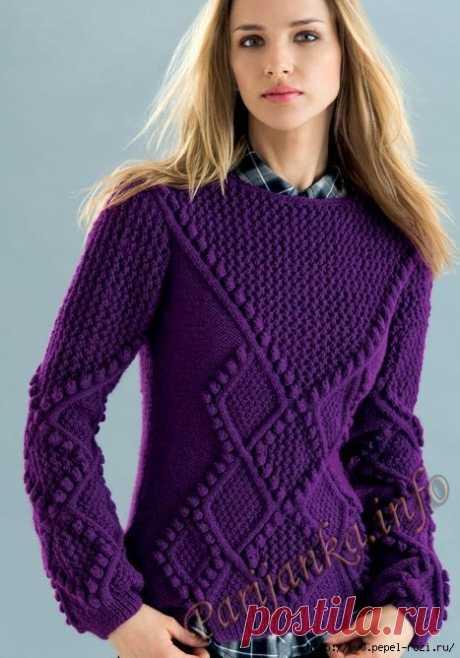 Стильный фиолетовый пуловер Phildar спицами и крючком
