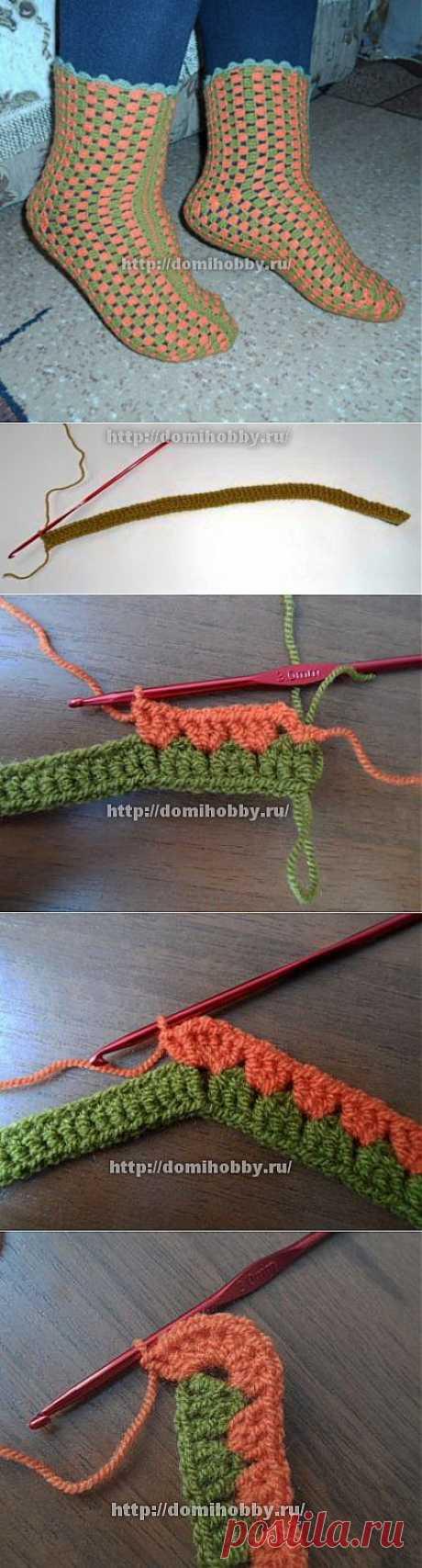 Вязание носков крючком для дома