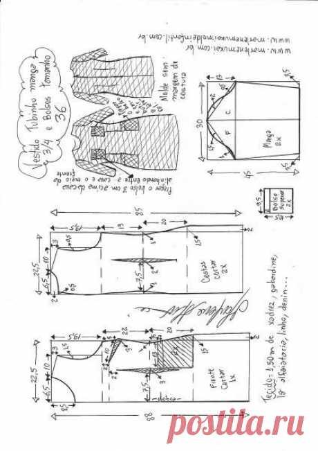 Осеннее платье с карманами в клеточку. Выкройка. Размер 36 – 48 (Шитье и крой) – Журнал Вдохновение Рукодельницы