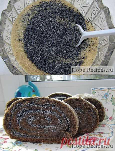 Маковый рулет с шоколадом © Кулинарный блог #Рецепты Надежды