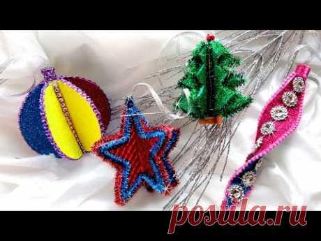 4 идеи новогодних игрушек из фоамирана. DIY/рукоделие.