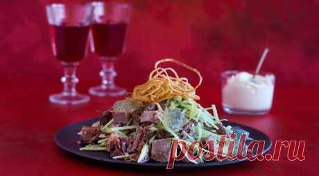 Салат с языком, вареным мясом, редькой и ланспиком - ПУТЕШЕСТВУЙ ПО САЙТУ. Ланспик- это бульон. Но заливать мясо в салате горячим бульоном вам не придется. Чтобы получился ланспик, бульон надо хорошо охладить до состояния желе, затем нарезать кубиками и красиво выложить на тарелке с салатом. ИНГРЕДИЕНТЫ 1 говяжий язык весом 1,2 кг 500 г верхней части голяшки (немного кости и мясо) 4 …