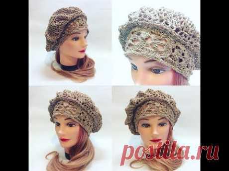 Берет летний крючком на основе ленточного кружева2 crochet beret
