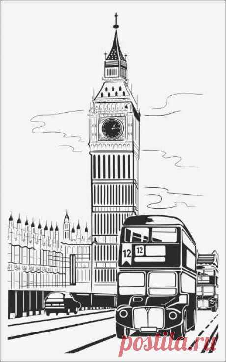Пескоструйный рисунок лондон биг бэн для  плоттерной резки, дизайнерский шкаф-купе.