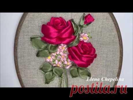 Розы из ленты. Красивый букет вышитый лентами своими руками.