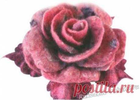 Роза из шерсти. Валяние своими руками.