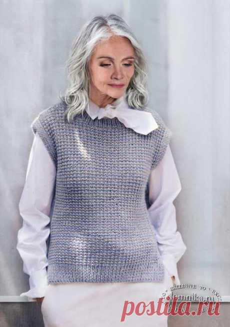 Жилет спицами для женщин после 50-60 лет - вязание жилета схемы и описание