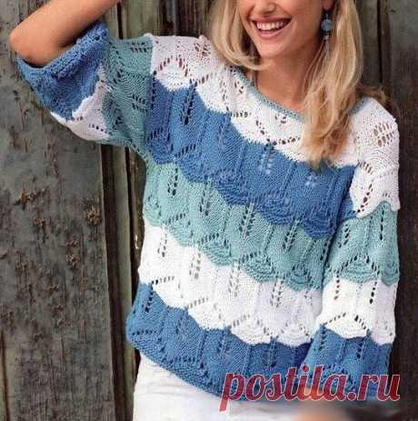 Как хорошо уметь вязать: Ажурный пуловер спицами...